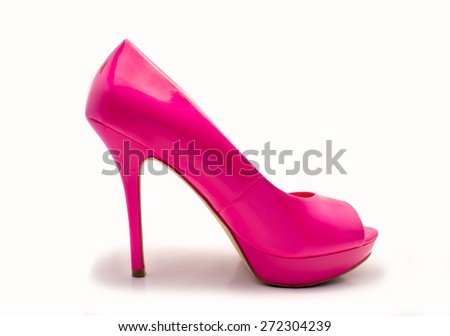profile of pink heel shoe isolated with white background - stock photo