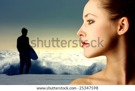 profile of pretty girl and a surfer silhouette on the background - stock photo