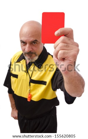 Profile of referee with red card. Isolated on white - stock photo