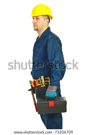Profile of repairman holding tool box and looking in perspective isolated on white background - stock photo