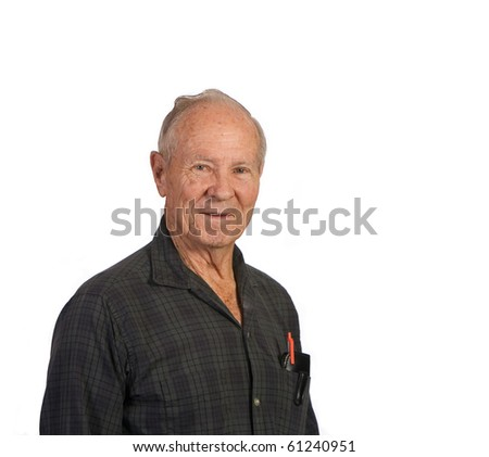 Profile of senior man shot against white background - stock photo