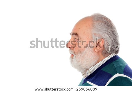 Profile of senior man with beard isolated on a white background - stock photo