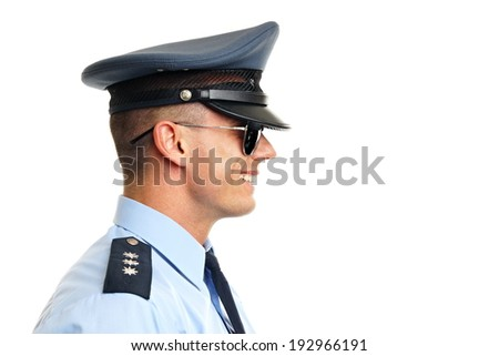 Profile of smiling policeman in sunglasses close up