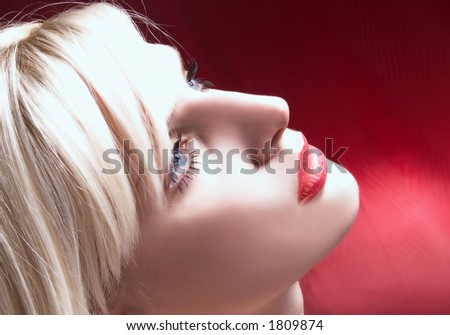 profile of strong blond - stock photo