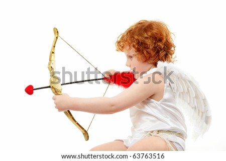Profile of the aiming small cupid isolated on a white background - stock photo