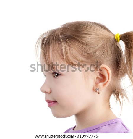 profile of the cute sweet little girl - stock photo