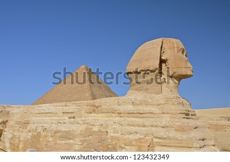 Profile of The Great Sphinx of Giza, Egypt.
