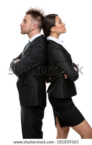 Profile of two businesspeople stands back to back with their arms crossed, isolated on white. Concept of competition and job competitive promotion - stock photo