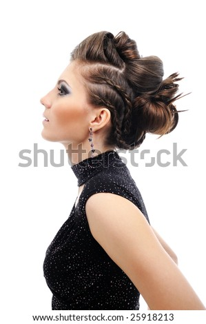 Profile of  woman with stylish hairstyle - white background - stock photo