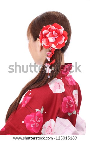 profile of young asian woman with traditional clothing kimono - stock photo