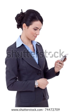 Profile of young business woman texting on phone, isolated on white background. - stock photo