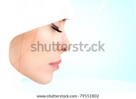 Profile photo of sensual beauty Muslim woman, closed eyes - stock photo