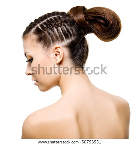 Profile portrait of a beauty woman with  pigtails. Isolated on white - stock photo
