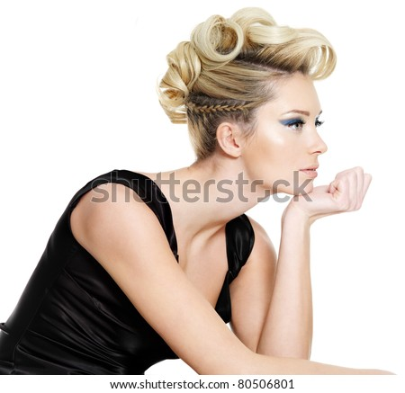 Profile portrait of  glamour young woman with curly,  pigtail  hairstyle-  isolated on white background - stock photo