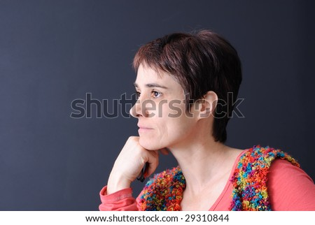 profile portrait of mature woman - stock photo