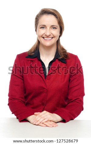 Profile shot of an ambitious corporate woman smiling confidently. - stock photo