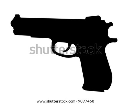 Profile silhouette of a pistol over white background - stock photo