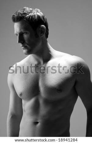 profile view of a hunky caucasian man - stock photo
