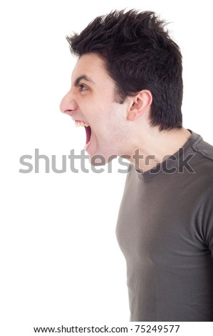 profile view of a very angry man screaming isolated on white background - stock photo