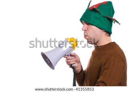 Profile view of an adult elf using a megaphone to say something, isolated against a white background - stock photo