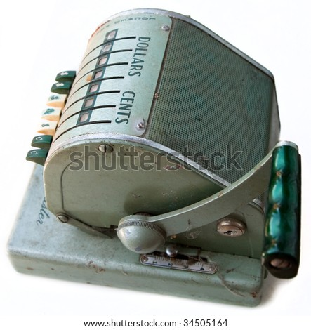 Profile view of antique Paymaster cash register - stock photo