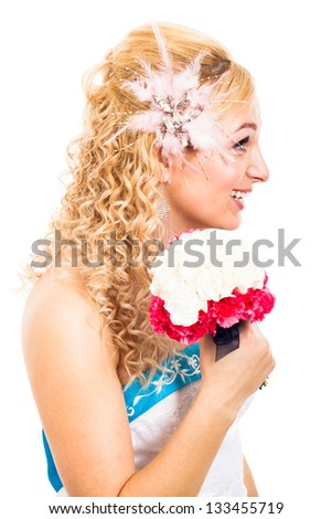Profile view of beautiful bride smiling with wedding bouquet, isolated on white background - stock photo