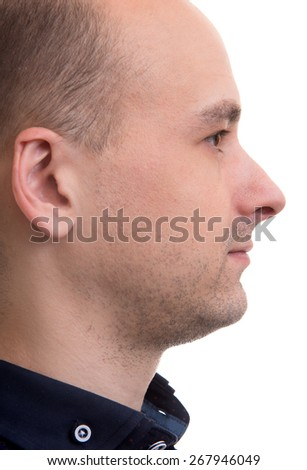 Profile view of confident man. Isolated on white - stock photo