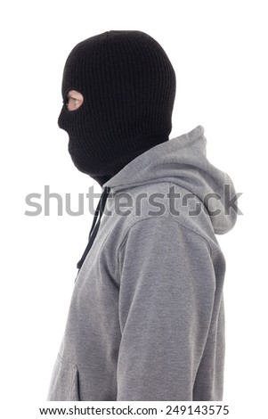 profile view of criminal man in mask isolated on white background - stock photo