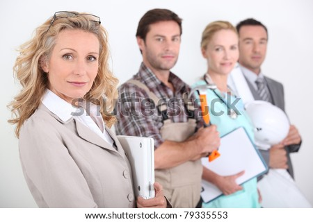 Profile view of four professionals from different domains - stock photo