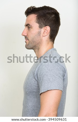Profile view of man - stock photo