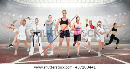Profile view of sportswoman practising discus throw against view of a stadium