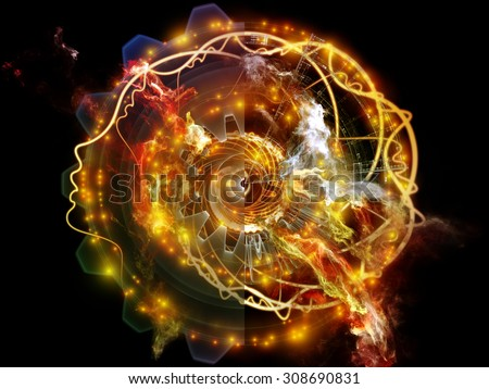 Profiles of Destiny series. Abstract arrangement of astrology symbols, human profile lines, circles and design elements for projects on astrology,magic, witchcraft and fortune telling - stock photo