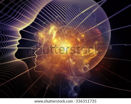 Profiles of Destiny series. Artistic background made of astrology symbols, human profile lines, circles and design elements for use with projects on astrology,magic, witchcraft and fortune telling - stock photo