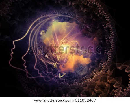 Profiles of Destiny series. Backdrop of astrology symbols, human profile lines, circles and design elements on the subject of astrology,magic, witchcraft and fortune telling - stock photo