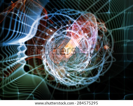 Profiles of Destiny series. Composition of astrology symbols, human profile lines, circles and design elements as a backdrop for the projects on astrology,magic, witchcraft and fortune telling - stock photo
