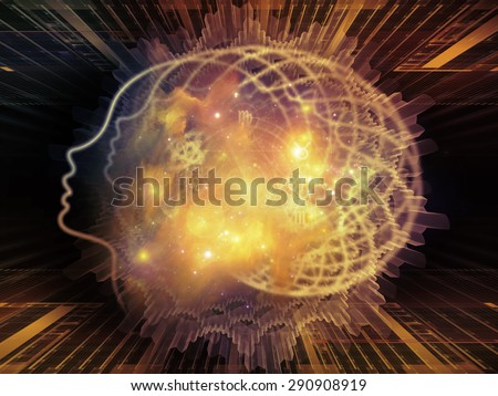 Profiles of Destiny series. Creative arrangement of astrology symbols, human profile lines, circles and design elements for subject of astrology,magic, witchcraft and fortune telling - stock photo