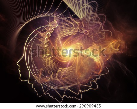Profiles of Destiny series. Design composed of astrology symbols, human profile lines, circles and design elements as a metaphor on the subject of astrology,magic, witchcraft and fortune telling - stock photo