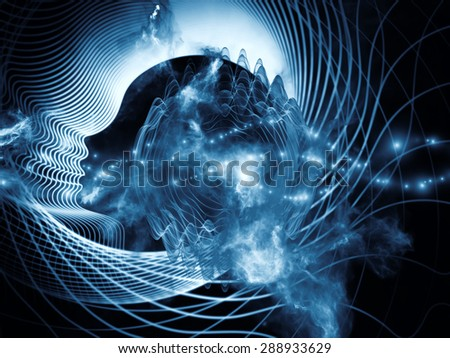Profiles of Destiny series. Graphic composition of astrology symbols, human profile lines, circles and design elements for subject of astrology,magic, witchcraft and fortune telling - stock photo
