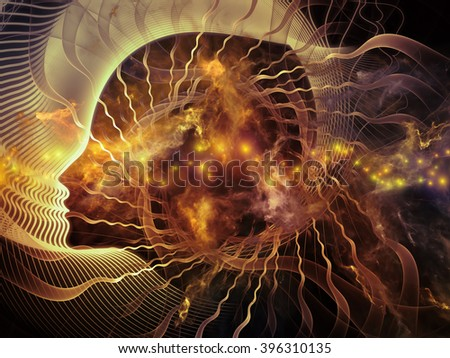 Profiles of Destiny series. Interplay of astrology symbols, human profile lines, circles and design elements on the subject of astrology,magic, witchcraft and fortune telling - stock photo