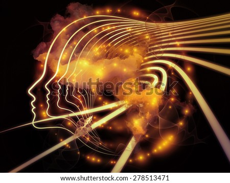Profiles of Destiny series. Visually attractive backdrop made of astrology symbols, human profile lines, circles and design elements for layouts on astrology,magic, witchcraft and fortune telling - stock photo