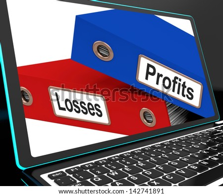 Profit And Looses Files On Laptop Showing Risky Trading Or Investing