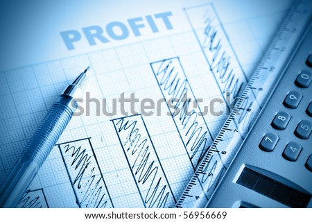 Profit bar chart, pen and calculator. Shallow DOF! - stock photo
