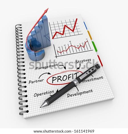 Profit concept illustration design over a notebook - stock photo