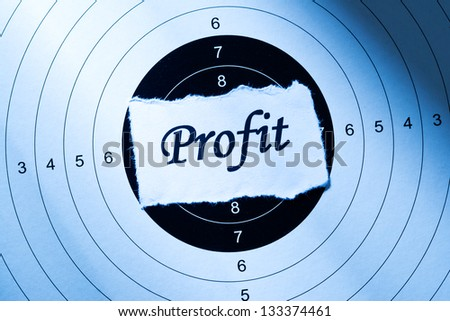 Profit concept, word on target paper