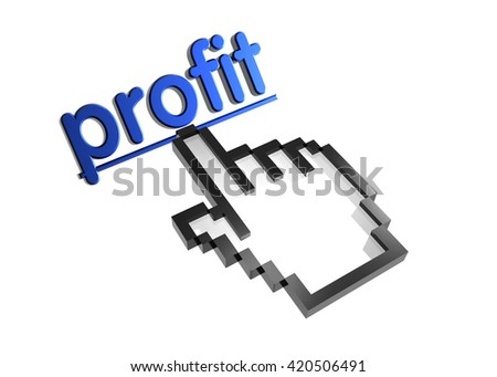 profit. 3d rendered inscription. Link and finger, pointer. Isolated on white