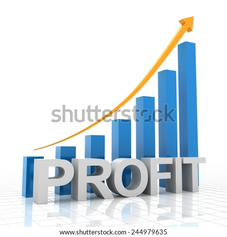 Profit growth chart, 3d render, white background - stock photo