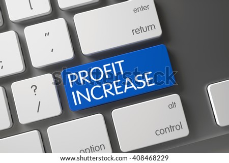 Profit Increase Concept Modern Laptop Keyboard with Profit Increase on Blue Enter Button Background, Selected Focus. Profit Increase CloseUp of Modernized Keyboard on Laptop. 3D Render. - stock photo