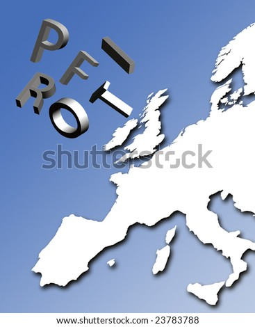Profit letters tumble over map of Europe - stock photo
