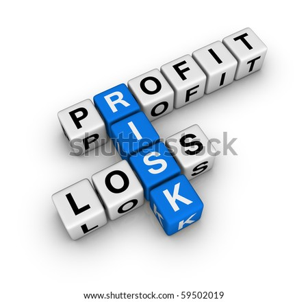 profit, loss and risk (blue-white cubes crossword series) - stock photo