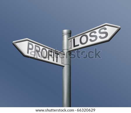 profit loss risk road sign on blue background financial risk concept gain or loss net income or deficit